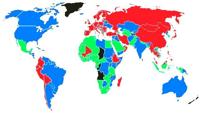 Цвет паспорта в разных странах Мира